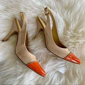 NWT Nine West High Heels Sandals Nude & orange. 7